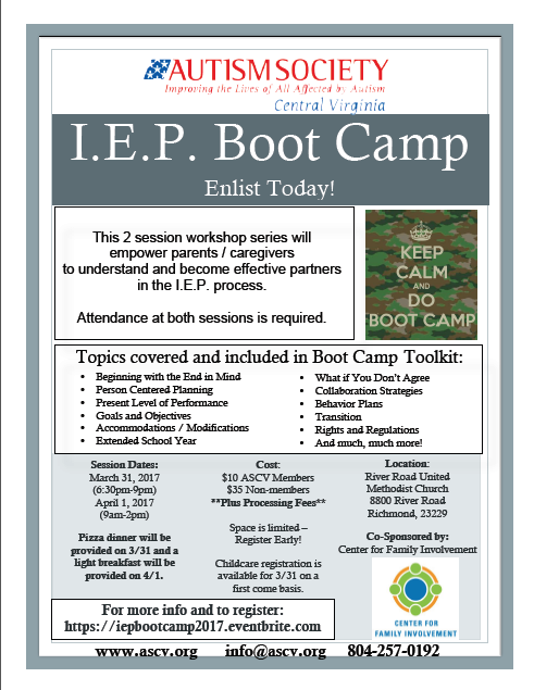Autism Society Hosting I.E.P. Bootcamp Sessions in March and April