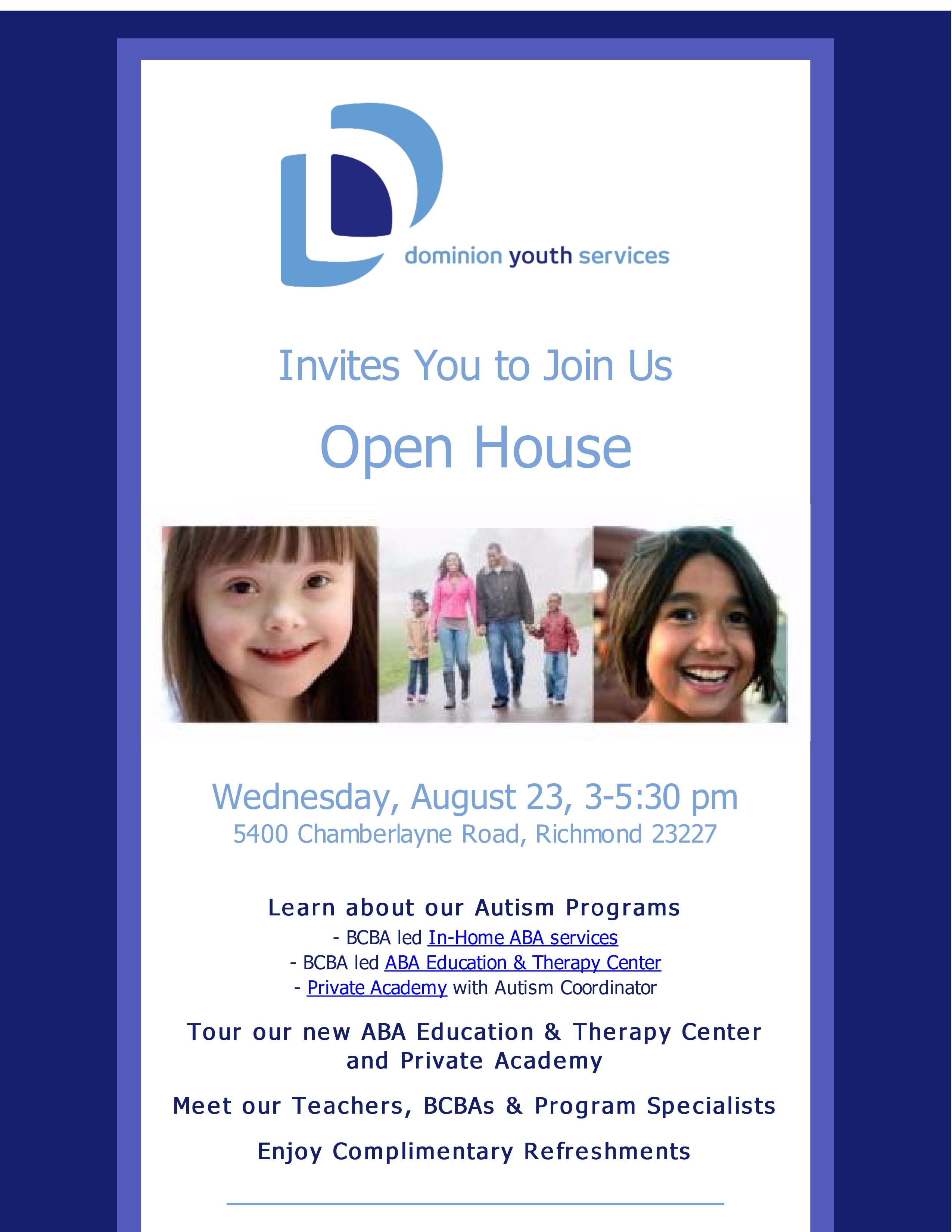 Refer Children with Autism or Similar Challenges?  Join us for our Open House on Wednesday, August 23, 3-5:30 pm!