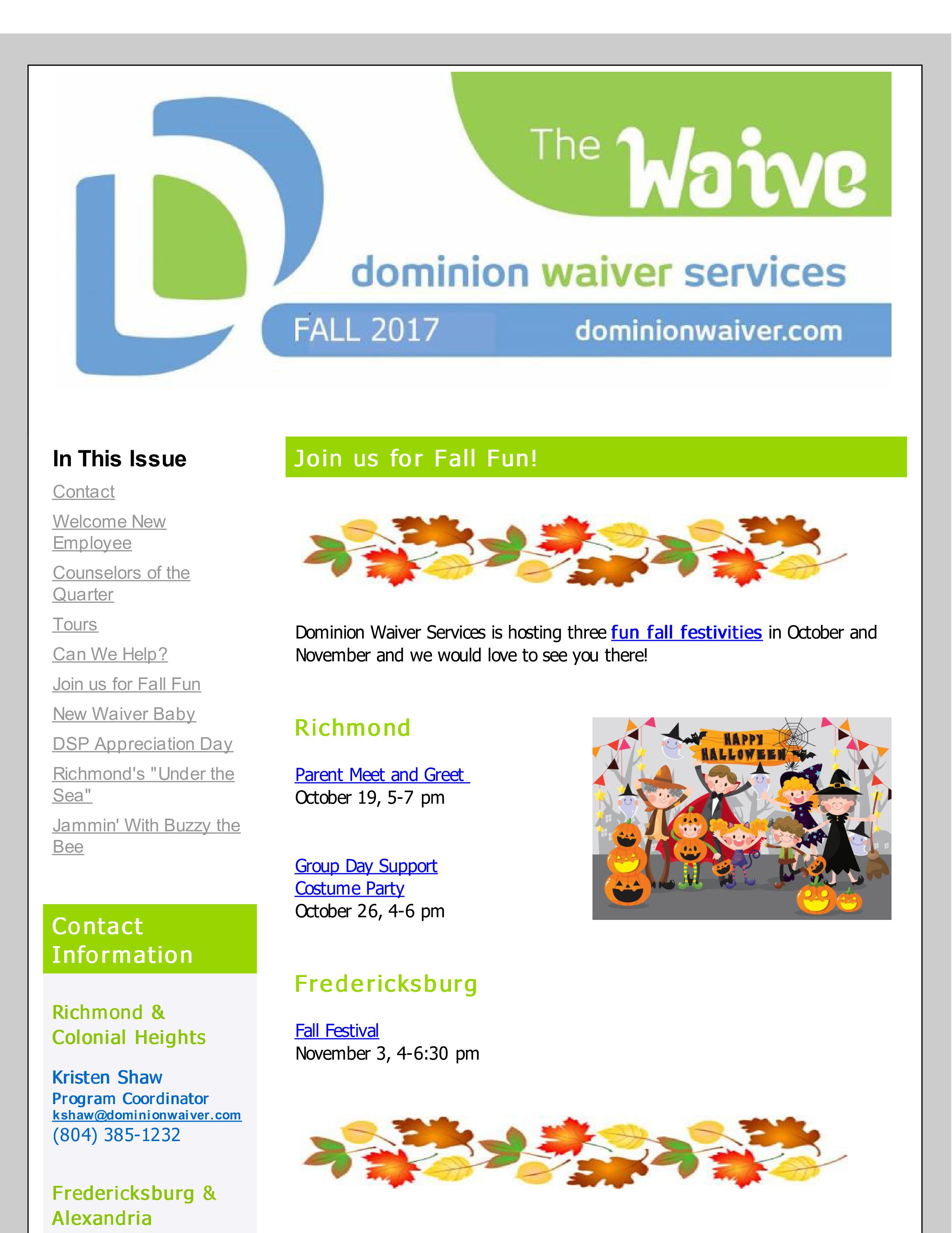"Check out the Fall Issue of ""The Waive"" Newsletter!"