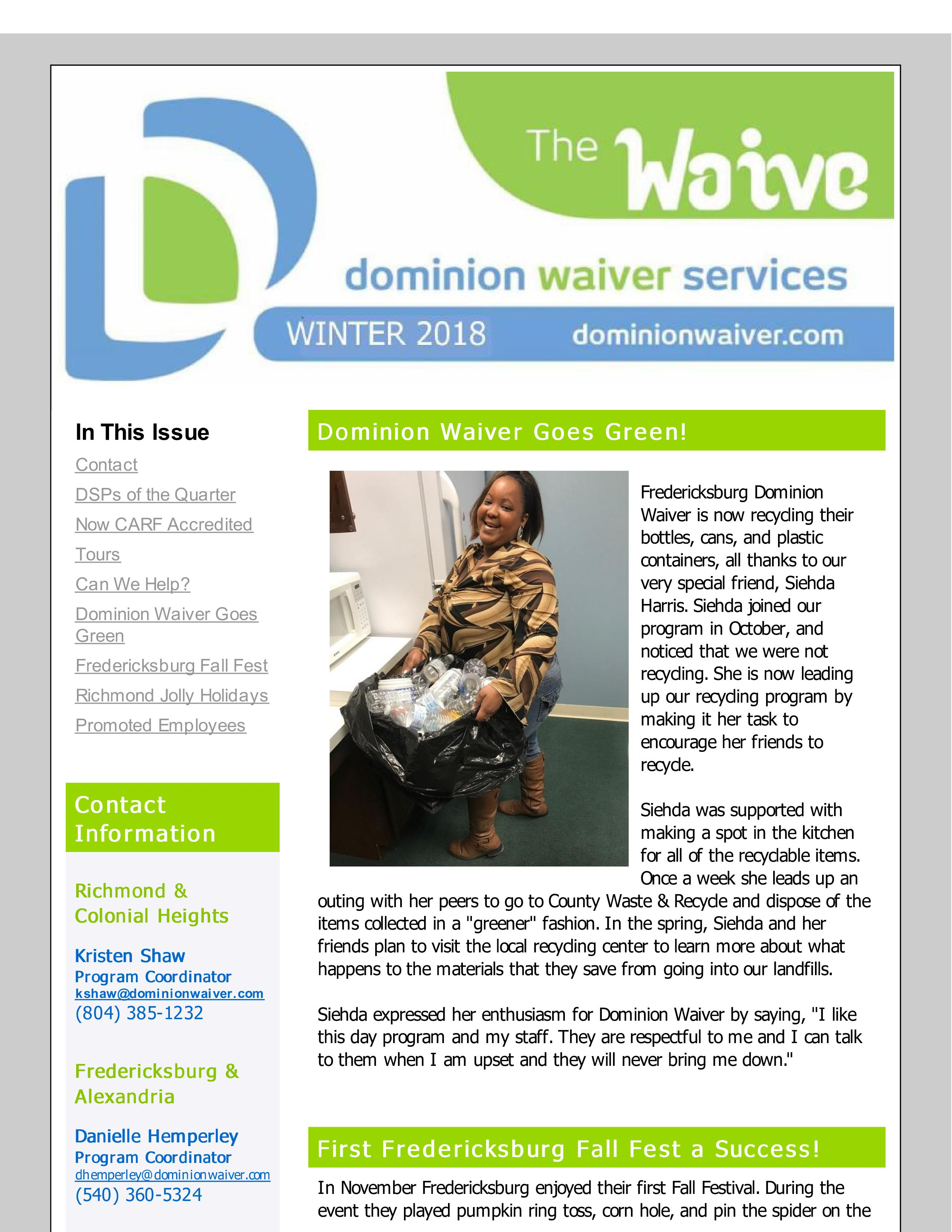 """Check out the Winter Issue of """"The Waive"""" Newsletter!"""